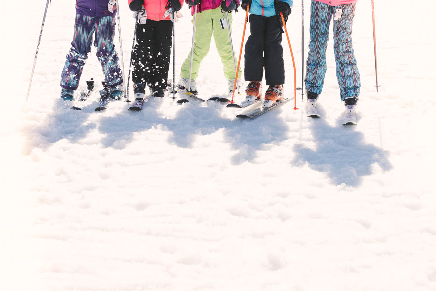 Kids on Skis in Line